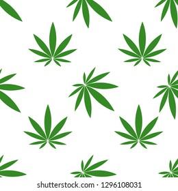 Seamless pattern of hemp leaves on white background