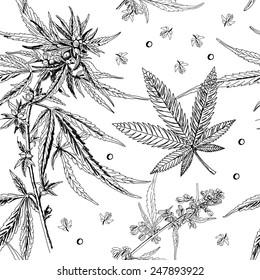 Seamless pattern, hemp, marijuana, black and white