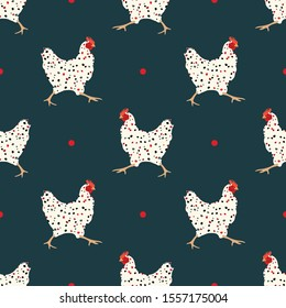 Seamless pattern with hens. Stylized chicken. Wallpaper, print, packaging, paper, fabric, textile design. Vector illustration.