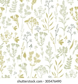 Seamless pattern with herbs and floral motifs, Meadow Herbs collection, vector textile design.