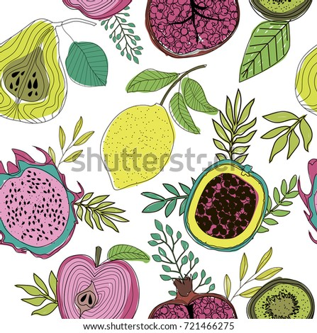 seamless pattern herbs fruits flowers editable stock vector royalty