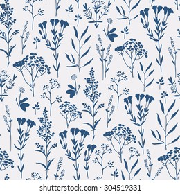 Seamless pattern with herbs and seasonings, Meadow Herbs collection, vector textile design.