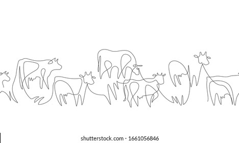 Seamless pattern. Herd of cows. Cows drawn in one line. Farm animals. Vector graphics in a minimalistic style. Cattle.