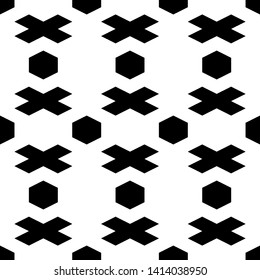 Seamless pattern. Hexagons, crosses ornament. Figures background. Hexahedrons, cross shapes wallpaper. Geometrical backdrop. Digital paper, web designing, textile print.