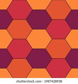 Seamless pattern. Hexagons ornament. Tiles background. Hexahedrons wallpaper. Ethnic motif. Geometrical backdrop. Digital paper. Web designing. Mosaic textile print. Vector