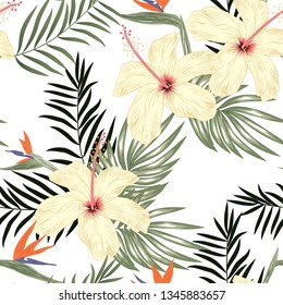 Seamless pattern with hibiscus flower, bird of paradise flowers, and palm leaves. Tropical exotic plant repeat pattern on white background. Great for fabric, textile summer concept, surface holiday.