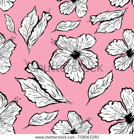 Seamless Pattern Hibiscus Flower Tattoo Style Stock Vector Royalty