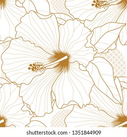 Seamless pattern with a Hibiscus natural ornament.Tropical vintage Hibiscus floraern white background. l seamless pattrn. Exotic jungle wallpaper.Hibiscus.Exotic floral design element for hibiscus tea