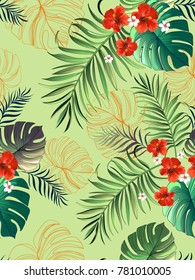 Seamless pattern with hibiscus and tropical leaves on a colored background. Japenese style.