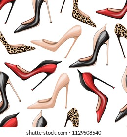 Seamless pattern with high-heeled pump shoes. Vector illustration.