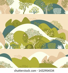 Seamless pattern with hilly landscape, trees, bushes and plants. Growing plants and gardening. Protection and preservation of the environment. Earth Day. Vector illustration.