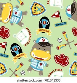 seamless pattern with hippo the baseball player cartoon. Baseball theme set
