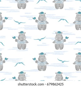 Seamless pattern with Hippo Sailor. Marine vector background for kids design.