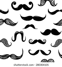 Seamless pattern with hipster black mustache on white