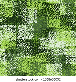 Seamless pattern. A hodgepodge of square fragments of pixel camouflage. The colors of the spring-summer forest. Editable.