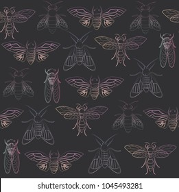 Seamless pattern with holography insect in outline and sketch style. Summer background. Editable vector illustration