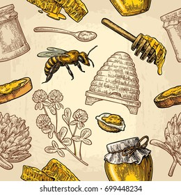 Seamless Pattern with honey, bee, hive, clover, spoon, cracker, bread and honeycomb. Vector vintage color engraving illustration. Isolated on beige background