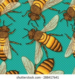 Seamless pattern with honey bees in a honeycomb