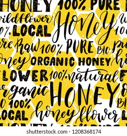 Seamless pattern of honey lettering and honeycomb. Vector hand drawn illustration.
