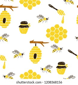Seamless pattern with honeycomb, bees, beehive, jar, spoon. Vector hand drawn illustration.
