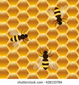Seamless pattern of honeycomb and bees. Wax honeycomb filled with honey. Vector illustration.