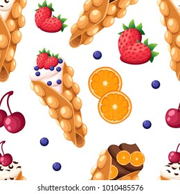 Seamless pattern Hong Kong waffle with cherry strawberry orange and whipped or chocolate cream vector illustration isolated on white background website page and mobile app design.