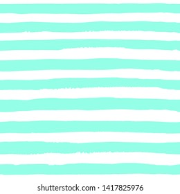 Seamless pattern of horizontal abstract watercolor cyan strips on white background. The color isolated horizontal line in the paper. watercolor print for clothes. Bright designer element