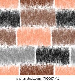 Seamless pattern with horizontal grunge striped rectangular elements in brown, grey,orange colors