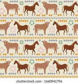 Seamless pattern of horse and cow with ethnic ornament elements. Repeatable textile vector print, wallpaper design.