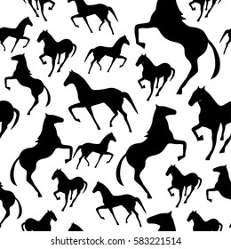 Seamless pattern with horse. Endless texture for wallpaper, fill, web page background, surface texture.