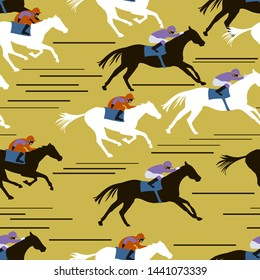 Seamless pattern with horsemen in horseraces on yellow background. Equestrian theme. Vector