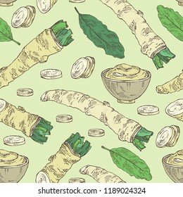Seamless pattern with horseradish: horseradish root, leaves and a piece of horseradish root. Vector hand drawn illustration.