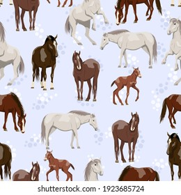 Seamless pattern with horses and foals. Equus ferus caballus females, males and foals on a golden background. Domestic and wild vector animals background