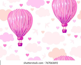 Seamless pattern with hot air balloon, clouds sky, bird, heart vector background. Love. Perfect for wallpaper, pattern fill, web page background, surface textures, textile