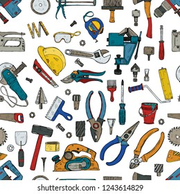 Seamless pattern with house repair tools including: hammer, sledgehammer, spatula, brush, nail, screw, nut, wrench  and other tools. Hand drawn vector collection