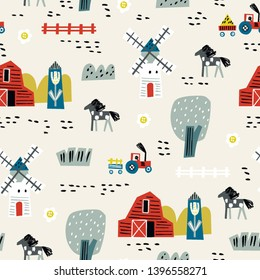 Seamless pattern with house, trees, horses, mills and floral. Europe nature landscape concept. Perfect for kids fabric, textile, nursery wallpaper. Seamless landscape.
