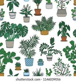 Seamless pattern with houseplants growing in pots on white background. Backdrop with decorative plants in planters. Home gardening. Colorful vector illustration for wrapping paper, textile print