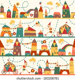 Seamless pattern with houses for childrens background. Vintage color. Seamless pattern can be used for wallpaper, pattern fills, web page background, surface textures