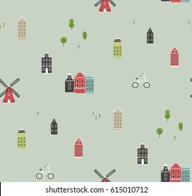 Seamless pattern with houses of Netherlands