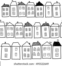 Seamless pattern with houses. windows, roofs, freehand drawing. a child's drawing. Background in the Scandinavian style.