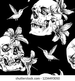 Seamless pattern. Human skulls with a exotic flowers and hummingbird. Textile composition, hand drawn style print. Vector black and white illustration.
