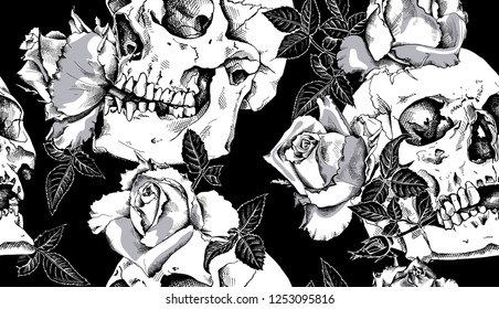 Seamless pattern. Human skulls with a rose flowers and leaves. Textile composition, hand drawn style print. Vector black and white illustration.