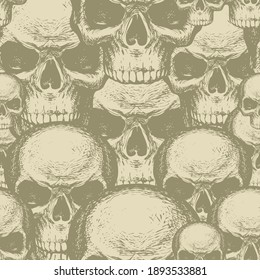Seamless pattern with human skulls. Vector background with hand-drawn skulls. Graphic print for apparel, design element for halloween party, fabric, wallpaper, wrapping paper in beige colors