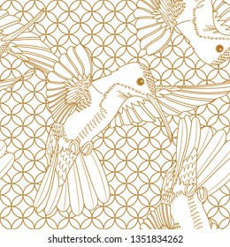 Seamless pattern with a humming birds ornament. Tropical vintage animals, Hummingbirds seamless pattern white background. Exotic jungle wallpaper.
