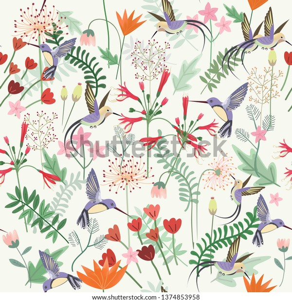 seamless pattern hummingbird in sweet flower garden,illustration vector doodle comic art.