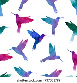 Seamless pattern. Hummingbird, watercolor painting