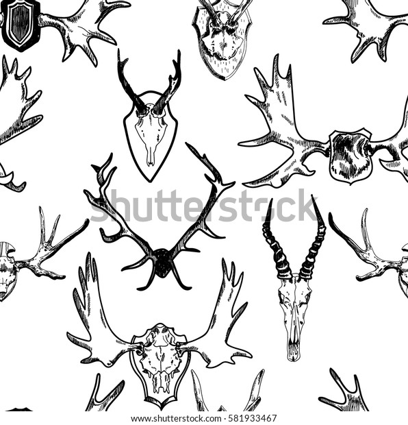 Seamless pattern with hunting trophies. Horn of a deer skull. Drawing by hand in vintage style.