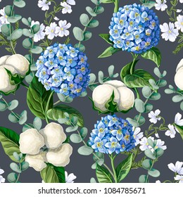 Seamless pattern with Hydrangea, cotton flowers, eucalyptus branches. Vector illustration