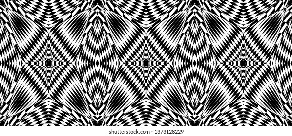 Seamless pattern with hypnotic trance texture. Black and white glitched background. Op art monochrome abstraction. Psychedelic trippy art.