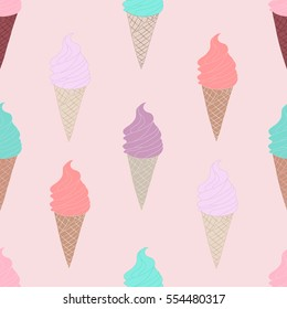 Seamless pattern with ice cream in the cone on pink background